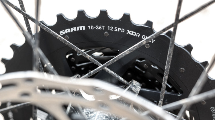 The new wide-range SRAM Force AXS eTap 10-36t cassette lowers and expands gearing options for gravel and cyclocross but requires a new rear derailleur. © Cyclocross Magazine
