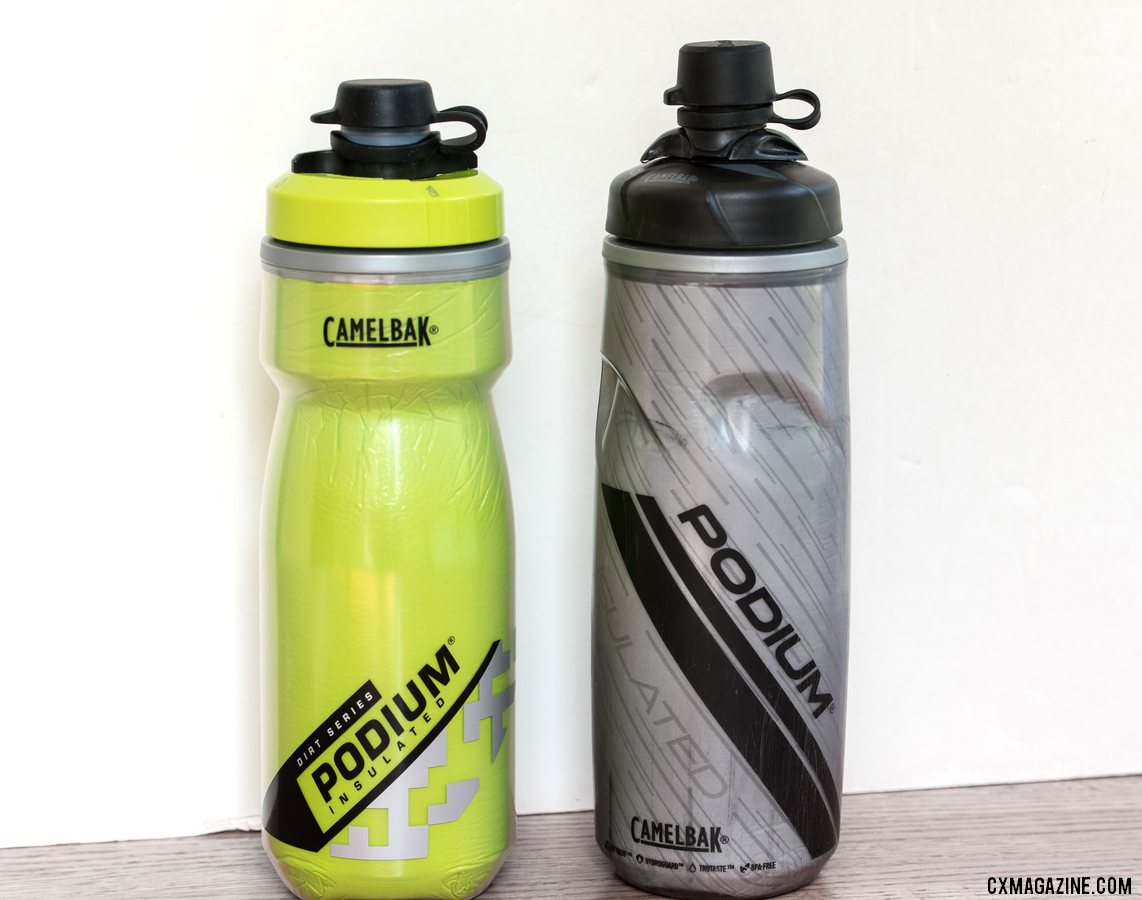 The new Camelbak Podium Chill Dirt Series bottle (left) is streamlined. © Cyclocross Magazine