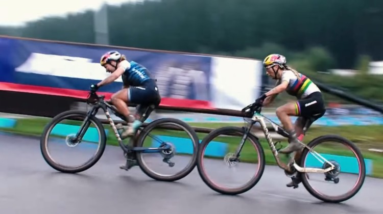 UCI Mountain Bike Short Track XCC at Nove Mesto - Evie Richards and Pauline Ferrand Prevot sprint for the win.