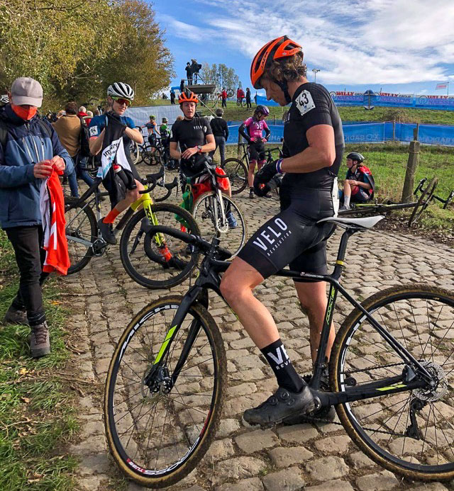 Corey Coogan Cisek post-race after countless Koppenberg climbs. photo: courtesy