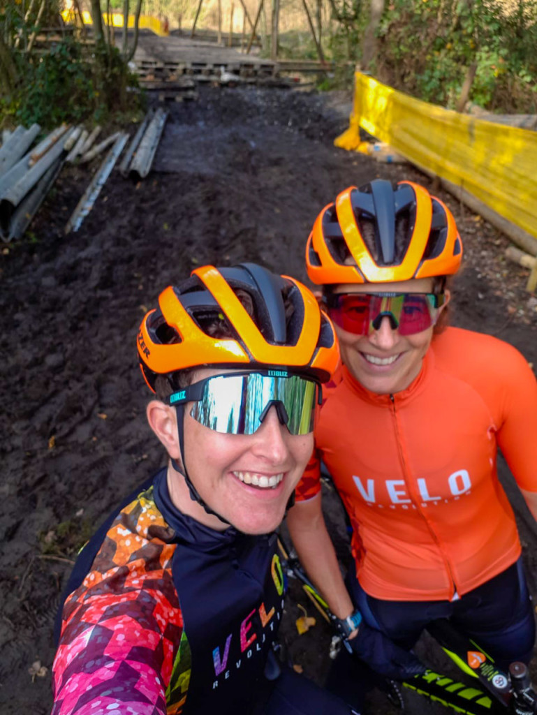 Corey Coogan Cisek and teammate Michelle Geoghegan pre-riding Niel, before the course bridge is complete. photo: courtesy