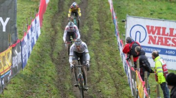 Van der Poel leads the chase of Pidcock. 2020 UCI Cyclocross World Cup, Elite Men. © Cyclocross Magazine