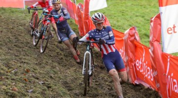 Honsinger leads Richards. 2020 Namur UCI Cyclocross World Cup Women. © Cyclocross Magazine