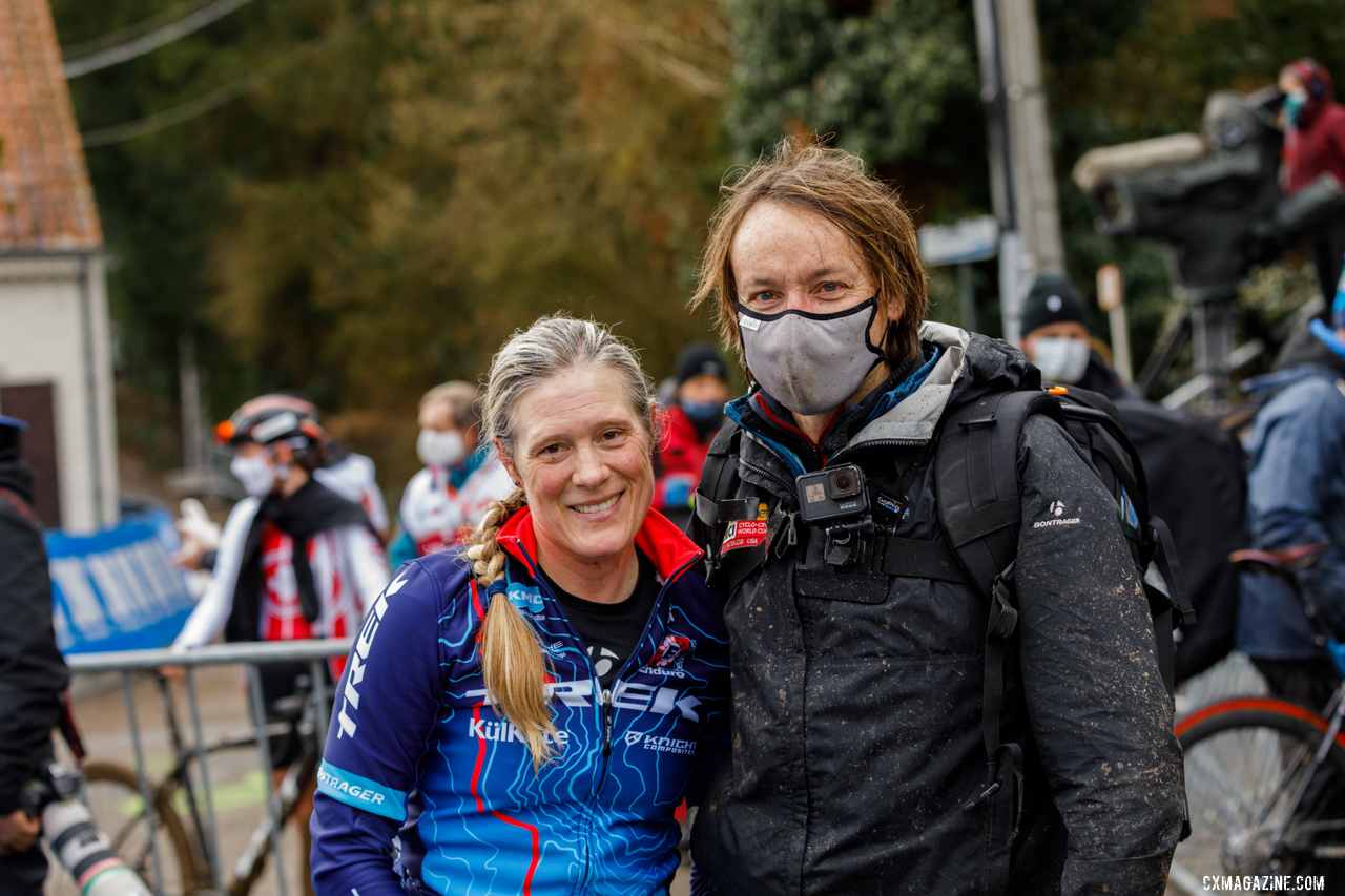 Katie Compton and husband Mark Legg soak in their final European campaign. 2021 UCI Overijse Cyclocross World Cup. © Alain Vandepontseele / Cyclocross Magazine