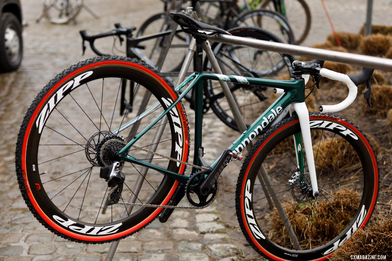 Keough's bike hangs to dry after being washed. © Alain Vandepontseele / Cyclocross Magazine