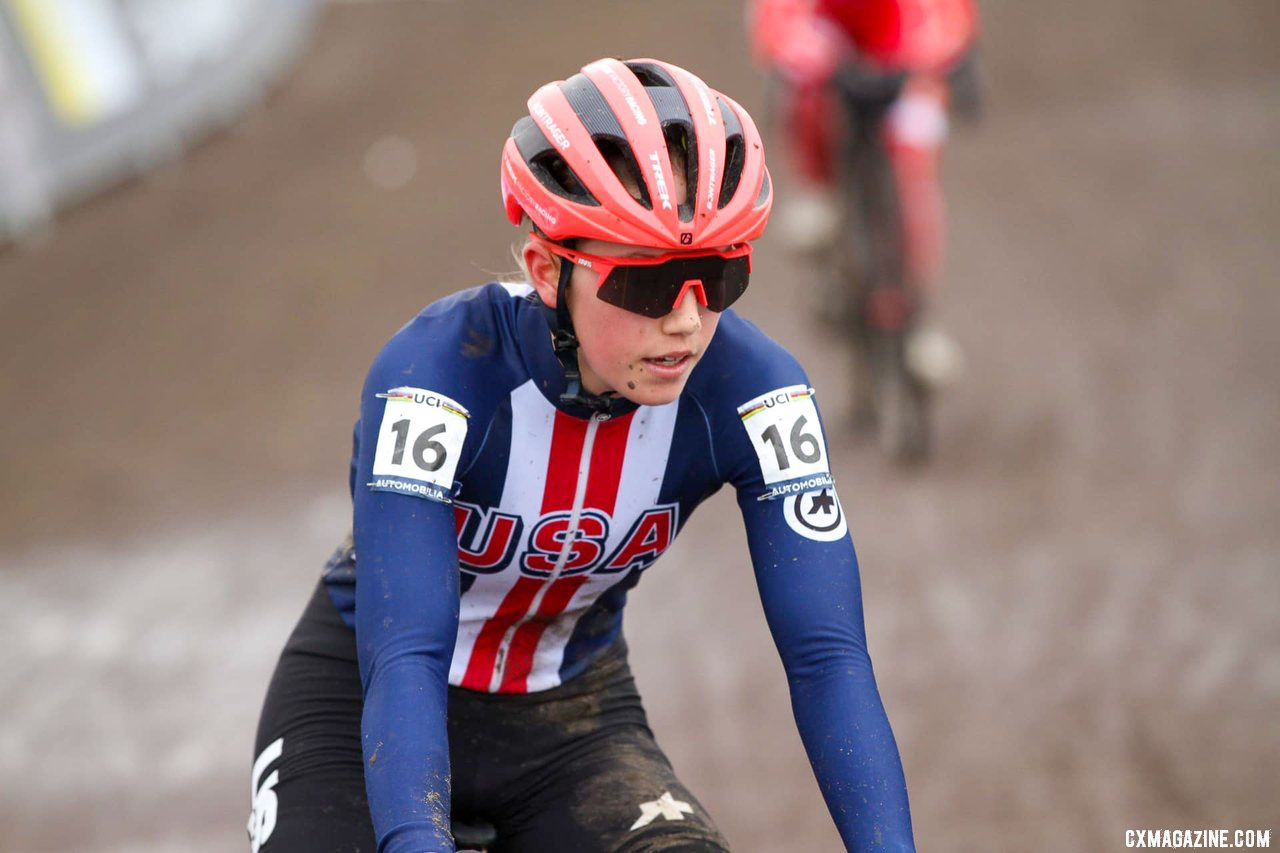 Maddie Munro had a strong second half to finish 11th as a first-year U23. U23 Women, 2021 Cyclocross World Championships, Ostend, Belgium. © Alain Vandepontseele / Cyclocross Magazine