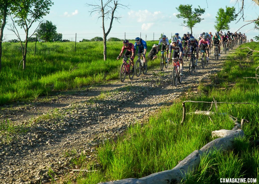 Contenders early on in the race. 2021 Unbound Gravel 200. photo: Life Time