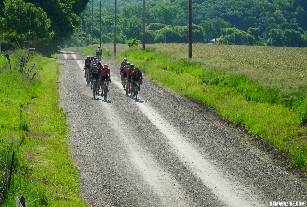 Double pacelines and drafting helped speed up the long day. 2021 Unbound Gravel 200. photo: Life Time