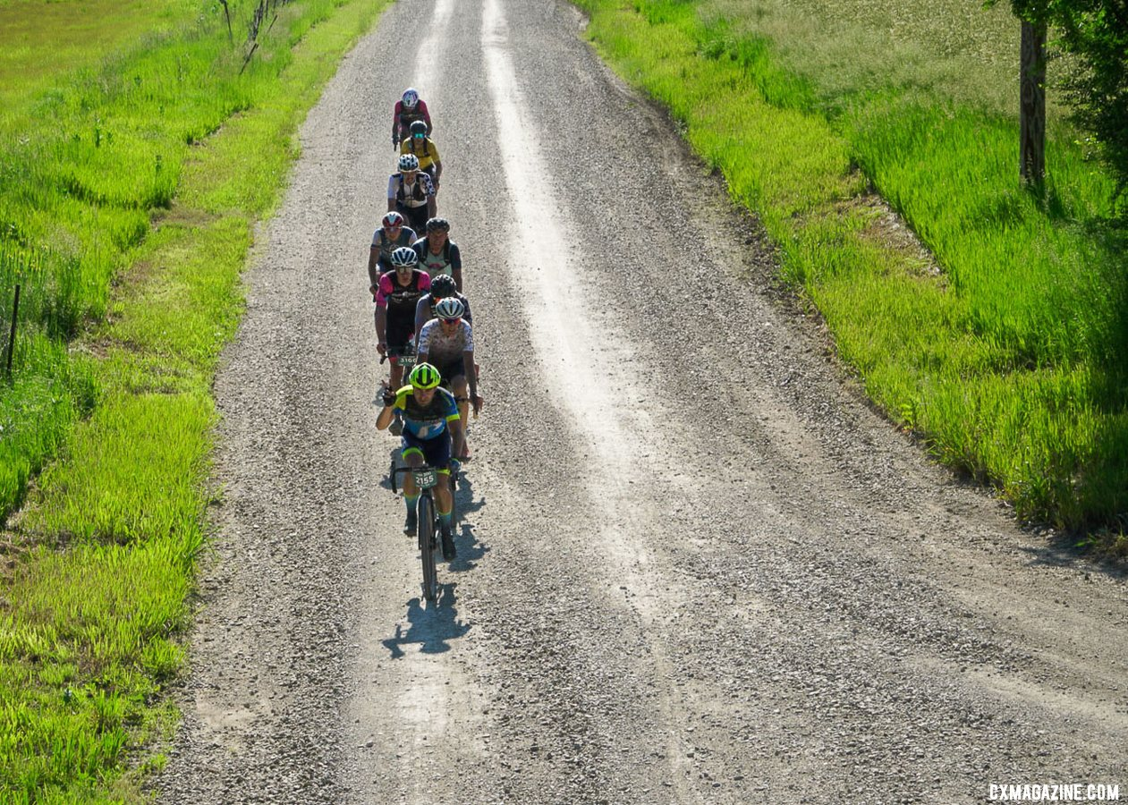 Alex Yale leads a chase pack and would finish 22nd. 2021 Unbound Gravel 200. photo: Life Time