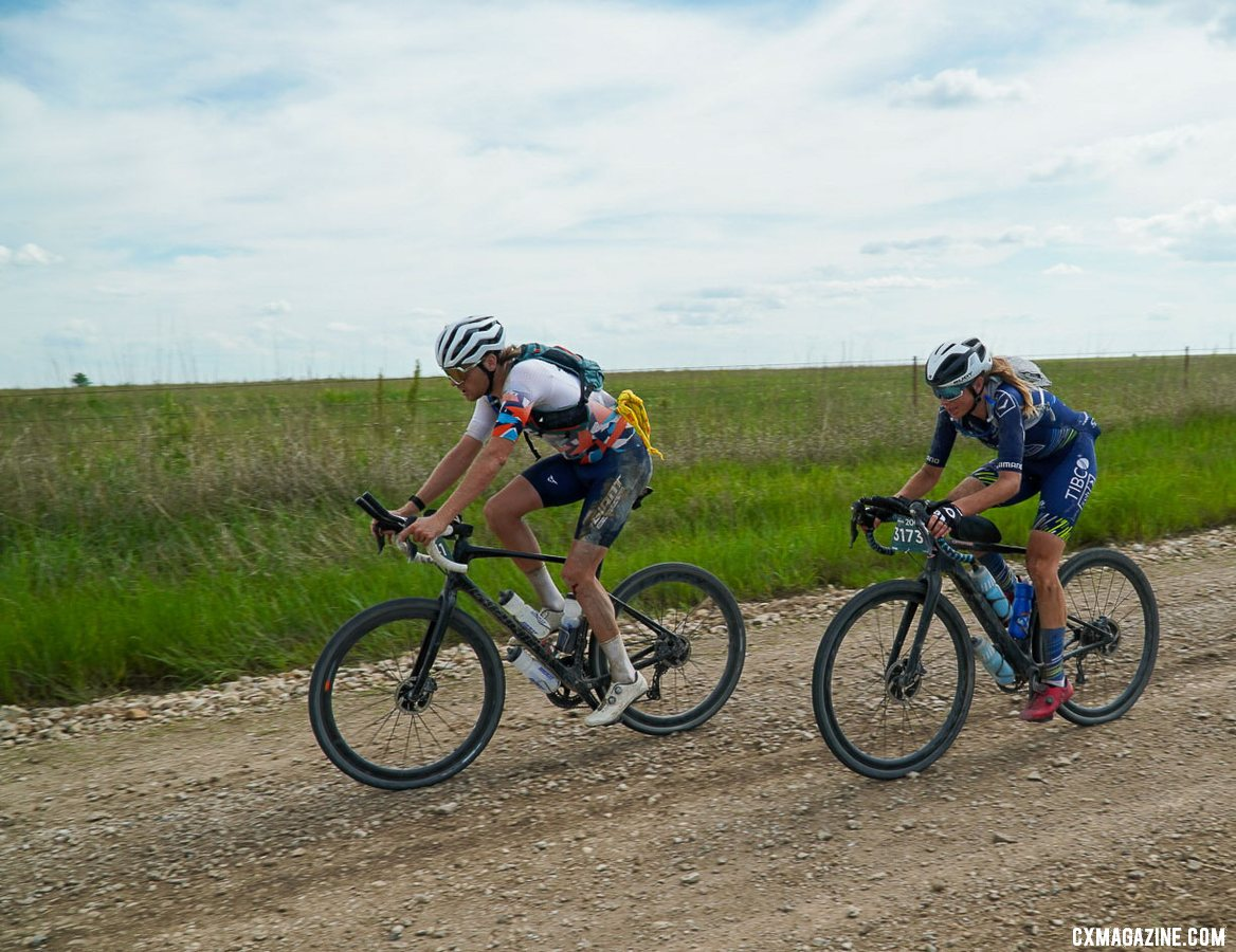 Emily Newsom, a classical pianist, raced to third. 2021 Unbound Gravel 200. photo: Life Time
