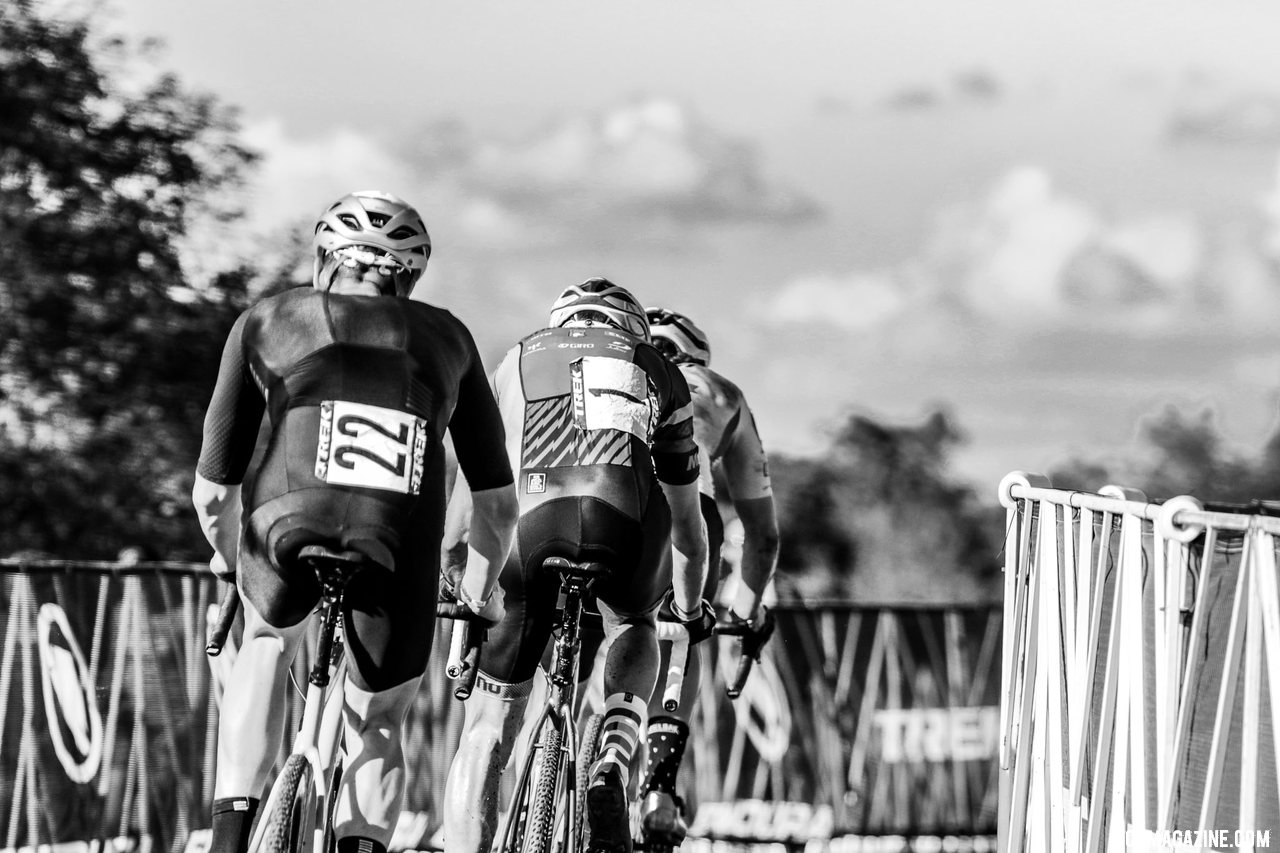 The North Americans race for third. 2021 Trek CX Cup, Elite Men. © D. Mable / Cyclocross Magazine