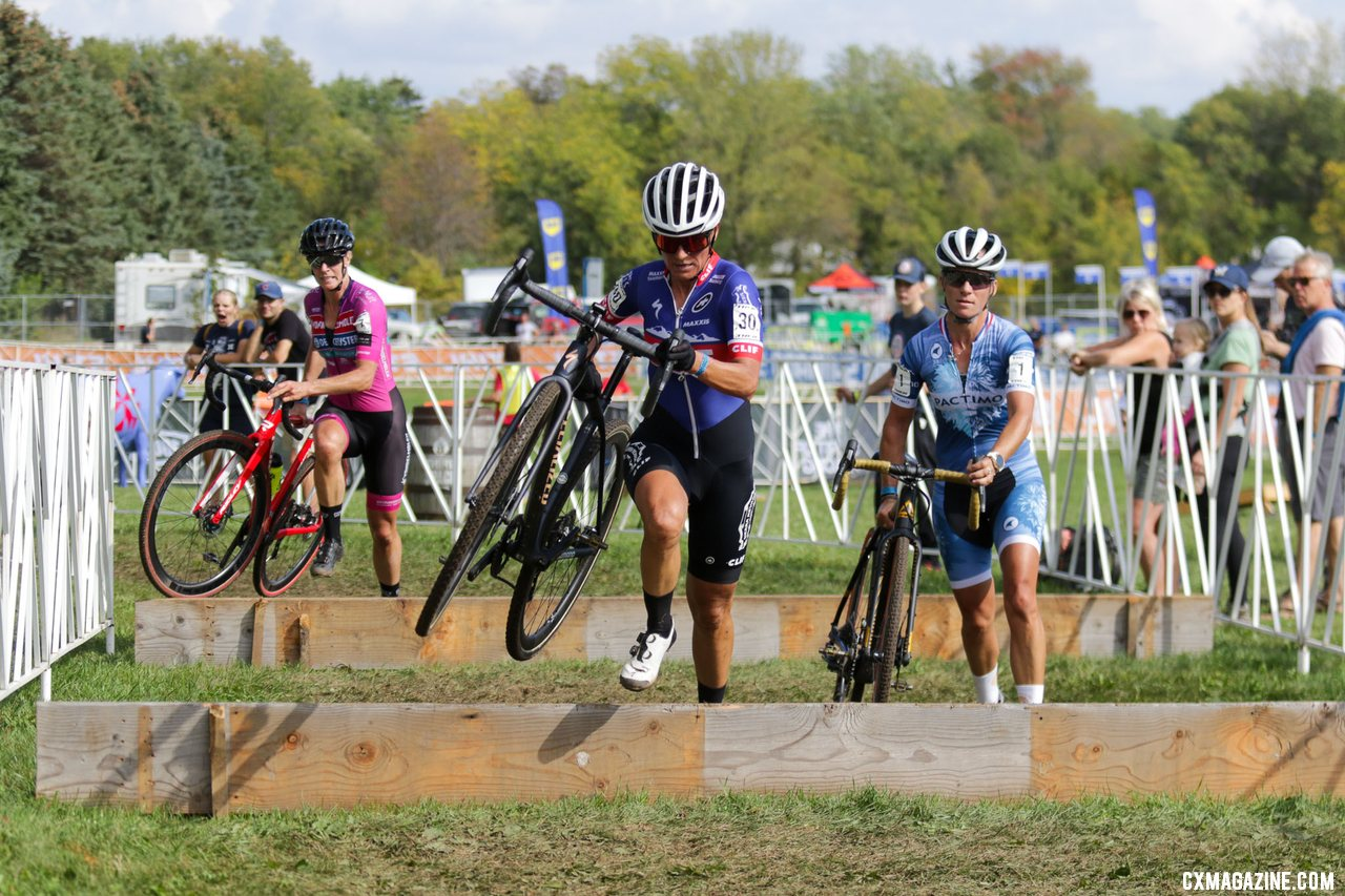 Nash leads Mani and Van Loy through the barriers. 2021 Trek CX Cup, Elite Women. © D. Mable / Cyclocross Magazine