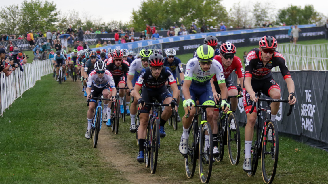 Quinten Hermans and Michael Vanthourenhout had fast starts and led the first lap before the rain took down Hermans. 2021 UCI Cyclocross World Cup Waterloo, Elite Men. © D. Mable / Cyclocross Magazine