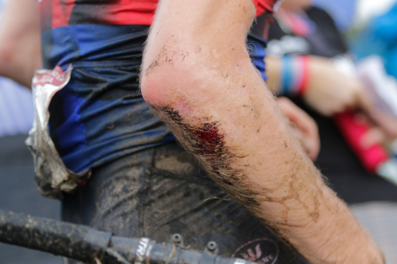 The slippery pavement turn at the bottom of the off-camber took its toll. 2021 UCI Cyclocross World Cup Waterloo, Elite Men. © D. Mable / Cyclocross Magazine