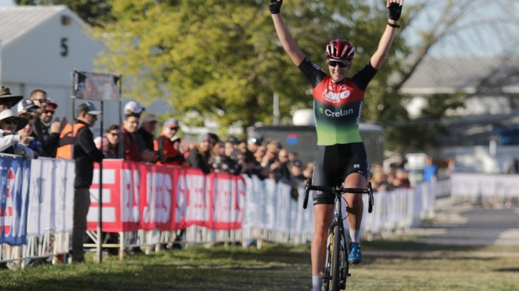 Manon Bakker had a long, solo, victorious day at the office. 2021 Jingle Cross Day 2 Elite Women. © D. Mable / Cyclocross Magazine