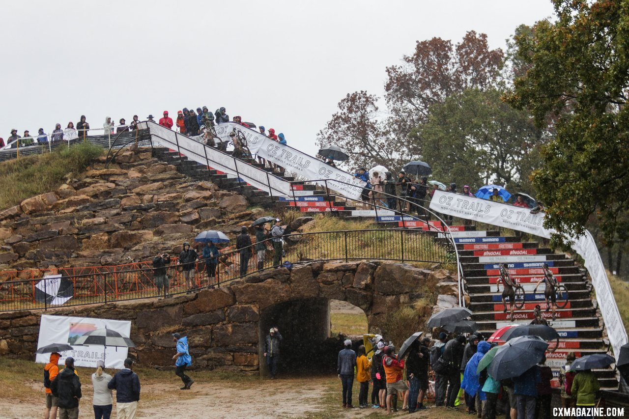 The stairs took their toll. 2021 UCI Cyclocross World Cup Fayetteville, Elite Women. © D. Mable / Cyclocross Magazine