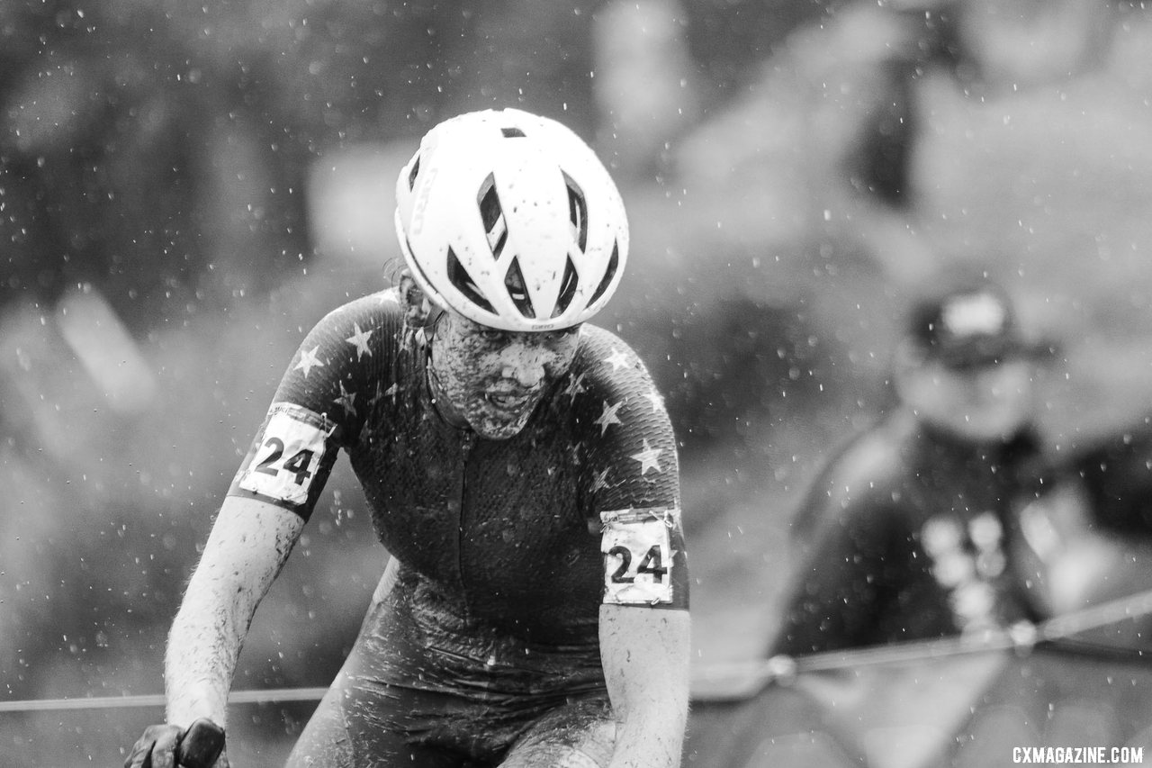 Honsinger surged to a podium finish. 2021 UCI Cyclocross World Cup Fayetteville, Elite Women. © D. Mable / Cyclocross Magazine