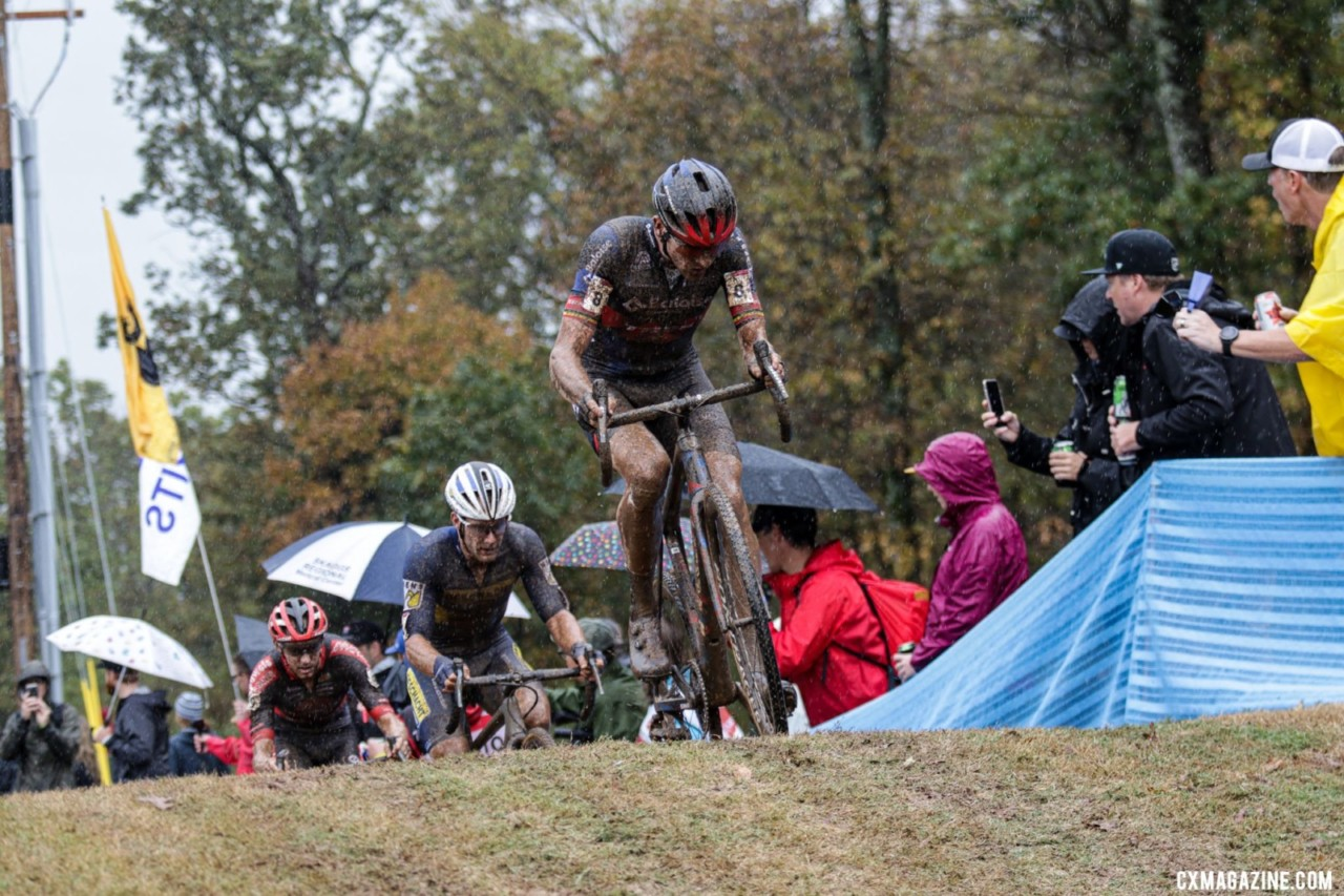 Toon Aerts faded late to finish fourth. 2021 UCI Cyclocross World Cup Fayetteville, Elite Men. © D. Mable / Cyclocross Magazine