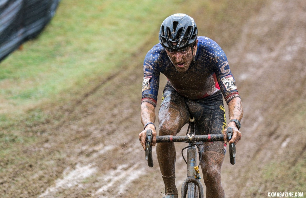 Gage Hecht soared to a top-ten finish, ending in eighth. 2021 UCI Cyclocross World Cup Fayetteville, Elite Men. © D. Mable / Cyclocross Magazine