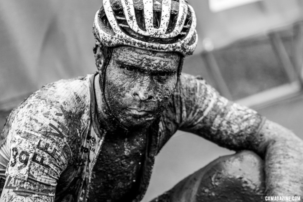 Marcel Meisen climbed to 15th on the day, but looked lost after the effort. 2021 UCI Cyclocross World Cup Fayetteville, Elite Men. © D. Mable / Cyclocross Magazine