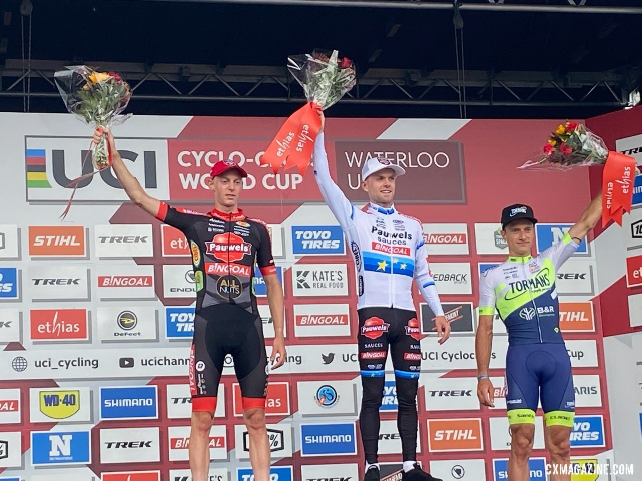 2021 UCI Cyclocross World Cup Waterloo Elite Men's Podium and results
