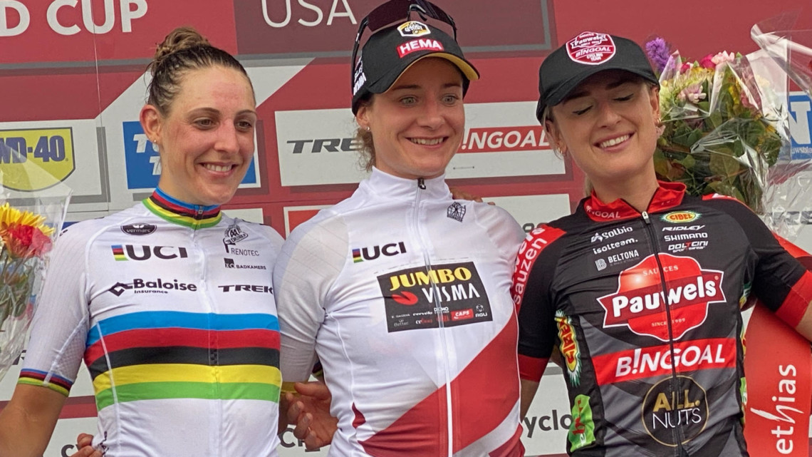 2021 UCI Cyclocross World Cup Waterloo Podium: Brand, Vos and Betsema © D. Mable / Cyclocross Magazine
